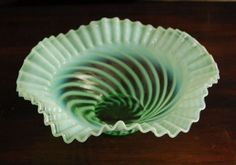 Vintage Hand Blown Green Shaded Opalescent Decorative Bowl from annasantiques on Ruby Lane