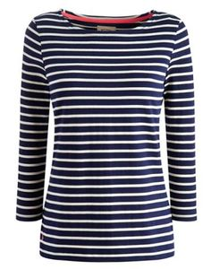 Joules Women's Striped Jersey Top, Hope Stripe French Navy.