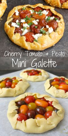 Cherry Tomato and Pesto Mini Galette. This easy savory pie recipe is perfect as an healthy lunch meal. It is also a great entertaining food idea to serve as an entree starter to your guest at your next dinner party! The flaky savory shortbread pastry filled with colourful Cherry Tomato, Homemade Basil Pesto and topped with Fresh Mozzarella creates the most delicious Savory Galette you'll ever try! #savorypie #savorytart #galette #savorygalette #partyfoodidea #lunchidea