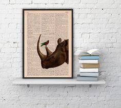 Rhino and little bird Illustration Poster dictionary page Wall hanging Giclee Print Animal Portrait Wall Decor home art Wall Art Print Rhino...
