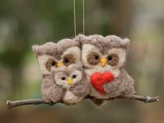 felted owl family - Click image to find more hot Pinterest pins