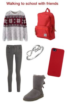 """""""Walking to school with friends"""" by smooches4you ❤ liked on Polyvore featuring Chicnova Fashion, 7 For All Mankind, UGG Australia, C6, Herschel Supply Co., women's clothing, women, female, woman and misses"""