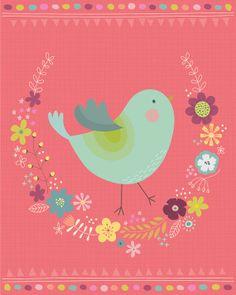 Floral Wreath Bird illustration  Giclee Art print by Lamai McCartan by lamaianne on Etsy, $25.00