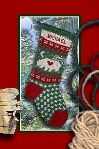 Knitted Wool Christmas Stockings Bear by annieswoolens on Etsy, $46.95