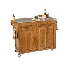 Create-a-Cart in Cottage Oak with Salt and Pepper Granite Top
