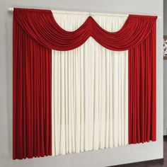 Cottage Curtains, Curtains And Draperies, Window Drapes, Red Living Room Decor, Bridal Party Tables, Event Decor Direct, Curtain Designs, Modern House Design, Simply Red