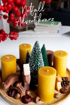 Advent wreath – Advent wreath XXL fresh noble copper cones – a unique product by fleuromantic on DaWanda DIY Mason Jar Candles, Beeswax Candles, Diy Candles, How To Make Christmas Tree, Christmas Mood, Merry Christmas, Christmas Tables, Nordic Christmas, Reindeer Christmas