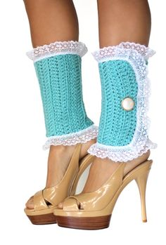 Lacy Lady Victorian Leg Warmers Aqua Lots by mademoisellemermaid