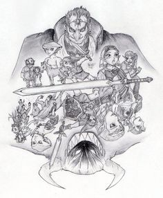 The huge generation gap. Ocarina Of Times, Generation Gap, Drawing Sketches, Drawings, Interactive Art, Link Zelda, Black And White Drawing, Legend Of Zelda, Video Games