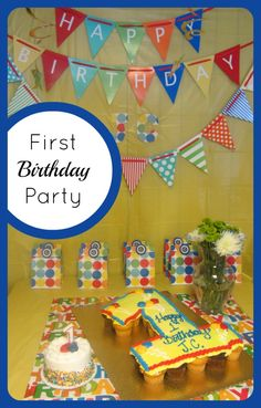 How do you celebrate first Birthdays?  Here's how we celebrated J.C.'s first Birthday with a colorful, but simple First Birthday Party.  B-InspiredMama.com