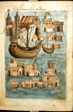 Account of a journey from Venice to Palestine, Mount Sinai and Egypt (British Library, Egerton folio colored drawing. 1467 Why are all of the buildings floating in the water? Medieval Life, Medieval Art, Medieval Drawings, Medieval Manuscript, Illuminated Manuscript, Old Maps, British Library, Middle Ages, Middle East