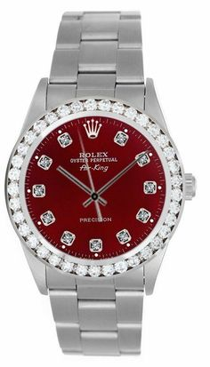 Rolex Watches Collection : Brand: Rolex - Series: Airking - Gender: Unisex - Case Material: Stainless Steel - Case Diameter: Dial Color/Diamond Quality: Red/Burgundy with 11 stones diamonds. - Bezel/Diamond Quality: - Watches Topia - Watches: B Cool Watches, Rolex Watches, Diamond Face, Expensive Watches, Luxury Watches For Men, Watch Brands, Stainless Steel Case, Quartz Watch, Colored Diamonds