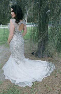 Silver sequins, key hole back and crystal buttons wedding dress or evening gown