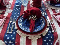 Country Glamour Home: Patriotic Tablescape #redwhitebgosh