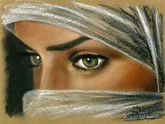 Regard troublant - Peinture,  30x40 cm ©2013 par Saïd Serge BERKANE -            Peinture pastel sec, orientalisme, orientaliste, oriental, femme voilée, touareg