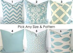PILLOWS MIX & MATCH Any Size Pattern Spa Blue by SayItWithPillows, $12.95