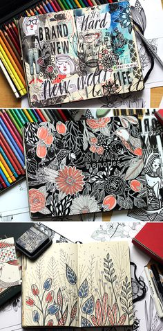 It's been awhile since last sketchbook pages were published. So, here's the next batch:) They're too grungy sometimes, but it's kind of meditation - I just smudge paints with drops and drips, without any idea, and enjoy the process.