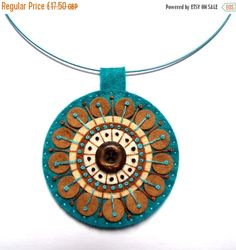 JANUARY SALES EVENT Felt pendant 'Kaleidoscope' necklace with freeform embroidery on co-ordinating wire necklace