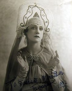 Tamara Karsavina, Karsavina was a famous Russian ballerina, renowned for her beauty, who was most noted as a Principal Artist of the Imperial Russian Ballet and later the Ballets Russes of Serge Diaghilev. Art Nouveau, Ballet Russe, Russian Folk, Russian Style, Famous Pictures, Fairytale Fashion, Russian Ballet, Tribal Women, Modern Dance