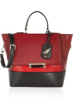 Lizard-effect dark-red, bright-red and black leather (Cow) Detachable adjustable shoulder strap, top handle Back zipped pocket, gold hardware Internal zipped pockets Fully lined in embroidered gray canvas Clasp fastening at front flap Comes with dust bag Designer Clothes Sale, Discount Designer Clothes, Designer Bags, Handbags Michael Kors, Coach Handbags, Diane Von Furstenberg, Best Work Bag, Gucci Boots, Work Bags