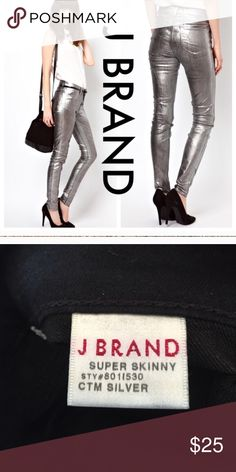 """J brand 801 coated silver skinny jeans Pictures don't do these justice. These are AMAZING. New without tags. I'm having a closet purge since I have to use super human strength to put clothes away otherwise I would keep these. - Mid-Rise - Faux front pocket  - Approx: 9"""" rise, 30"""" inseam - Dry clean only J Brand Jeans Skinny"""