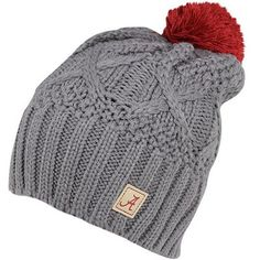 Nike Alabama Crimson Tide Ladies Cable Knit Pom-Pom Beanie - Gray Alabama  Hats cf85eca8c