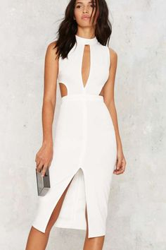 Side by Side Cutout Midi Dress - Ivory
