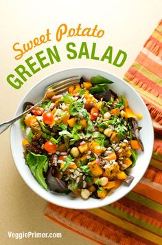 This sweet potato green salad recipe combines the creamy sweet texture of sweet potatoes with the snap and crunch of healthy greens and other veggies.