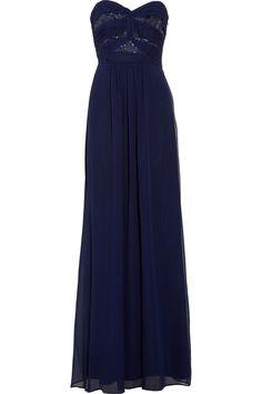 Shelli Segal: Midnight Embellished Silk-Chiffon Gown
