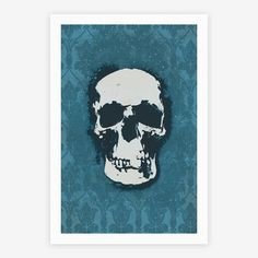 Sherlock Pop Skull.  Giclée print on natural white, matte archival paper. Trimmed with a 1 border for easy framing.