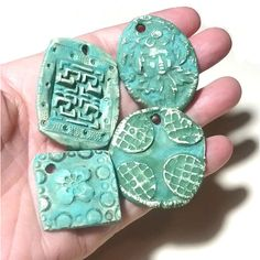 Ceramic Pendants 4 Large Rustic Ancient Stoneware Fantasy Mix Magical... ($16) ❤ liked on Polyvore featuring rustic stoneware and ceramic stoneware