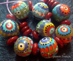 jasmin french  '  nairobi '  lampwork beads set by jasminfrench
