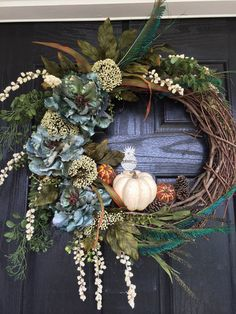 Fall, Autumn Grapevine Wreath with teal peony and cream colored wildflowers and pumpkin, front door wreath Wreaths For Front Door, Door Wreaths, Grapevine Wreath, Fall Wreaths, Christmas Wreaths, Fall Decor, Holiday Decor, Pumpkin Wreath, Autumn Crafts