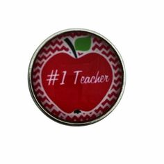 #1 Teacher Apple Snap 20mm for Snap Jewelry