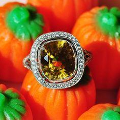 No tricks, all treats ✨ Zircon and Diamonds set in Platinum #ricardobasta #aotd #zircon yellow zircon ring