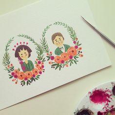 Couple custom portrait. Anniversary & Wedding gift.