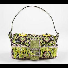 FENDI baguette FENDI beaded baguette -  Black Green Pink Lizard Skin Beaded & Embroidered Baguette Shoulder Bag.  Made in Italy.  Pre-owned, Great Condition FENDI Bags Baby Bags