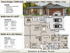 4 Bedroom house plans 2960 Sq Foot (272 m2) Sunken Lounge + 4 Bedroom  + Study Nook House Plan |  4 bed house plans On Sale Today! by AustralianHousePlans on Etsy Open Floor House Plans, Porch House Plans, Farmhouse Floor Plans, Basement House Plans, House Plans One Story, Craftsman House Plans, Best House Plans, Small House Plans, Floor Plan 4 Bedroom