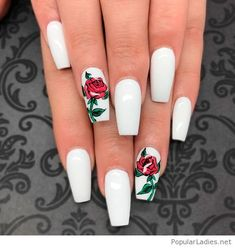Awesome white nails with rose print