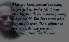 "Quote from the Matrix - ""What you know you can't explain, but you feel it. You've felt it your entire life, that there's something wrong with the world. You don't know what it is, but it's there, like a splinter in your mind, driving you mad."" Morpheus"