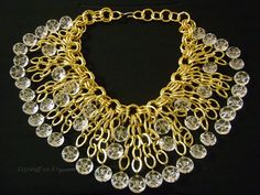 Showstopper Massive Victorian Gold Gilt Chain With Faceted Clear Lucite Dangling Dripping Dramatic Cascading Bib Runway-Worthy Necklace 204g...