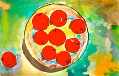 """Matisse Apples"" is a lesson based on the Matisse painting called ""Apples."" The students trace the circle, stamp with tempera paint using recycled laundry detergent caps to create the apples, paint concentric circles on the plate using opaque watercolor, and careful hand/brush control, and then finish the painting by adding and mixing more transparent watercolor."