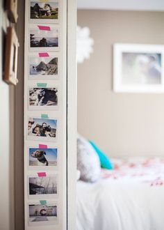 Got an awkward tiny wall? Use washi tape to hang up photos from home. Bedroom Wall, Girls Bedroom, Bedroom Decor, Wall Decor, Modern Bedroom, Teen Bedrooms, Girl Room, Teen Bedroom Makeover, Diy Casa