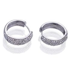 22x21mm Women Silver Hoop Loop 18KGP Crystal Earrings Ear Stud #eozy