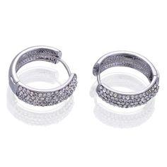 22x21mm Women Silver Hoop Loop 18KGP Crystal Earrings Ear Stud #eozy