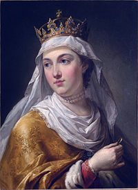 Jadwiga (1373/4 – 17 July 1399) was monarch of Poland from 1384 until her death. Her official title was 'king' rather than 'queen', reflecting that she was a sovereign in her own right and not merely a royal consort. She was a member of the Capetian House of Anjou, the daughter of King Louis I of Hungary and Elizabeth of Bosnia. She is known in Polish as Jadwiga, in Bosnian as Jadviga, in English and German as Hedwig, in Lithuanian as Jadvyga, in Hungarian as Hedvig and in Latin as Hedvigis.