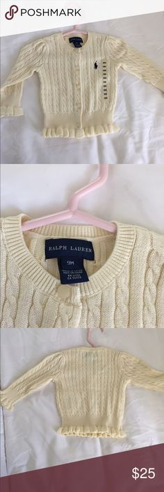 Ralph Lauren button up sweater Baby girl button up sweater, with navy polo logo Polo by Ralph Lauren Shirts & Tops Sweaters