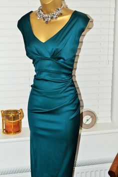 Gorgeous ⭐️ Autograph M&S ⭐️ Deep Teal Stretch Satin Ruched Wiggle Dress Size 16