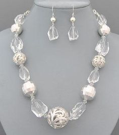 Filigree Ball Necklace 18″ Matching earrings included Lobster clasp with 3″ extender Silver metal plating Lead and nickel free $15 #silver #clear #chunky #beaded #necklace #earrings #set