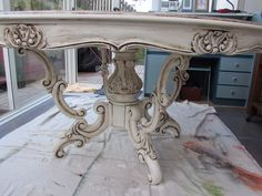 All finished dining table, painted by Margaret Whitcher with old white chalk paint and finished with clear and dark wax.